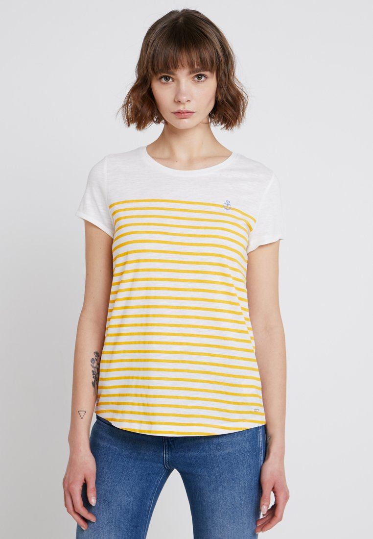 TOM TAILOR DENIM - STRIPE SLUB TEE - T-Shirt print - golden yellow/white