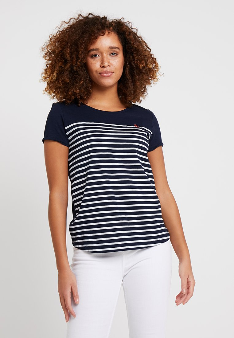 TOM TAILOR DENIM - STRIPE SLUB TEE - Print T-shirt - sky captain blue