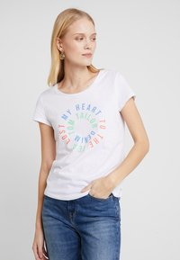 TOM TAILOR DENIM - SLUB PRINT TEE - T-shirt print - white - 0