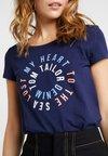 TOM TAILOR DENIM - SLUB PRINT TEE - T-shirt print - true dark blue
