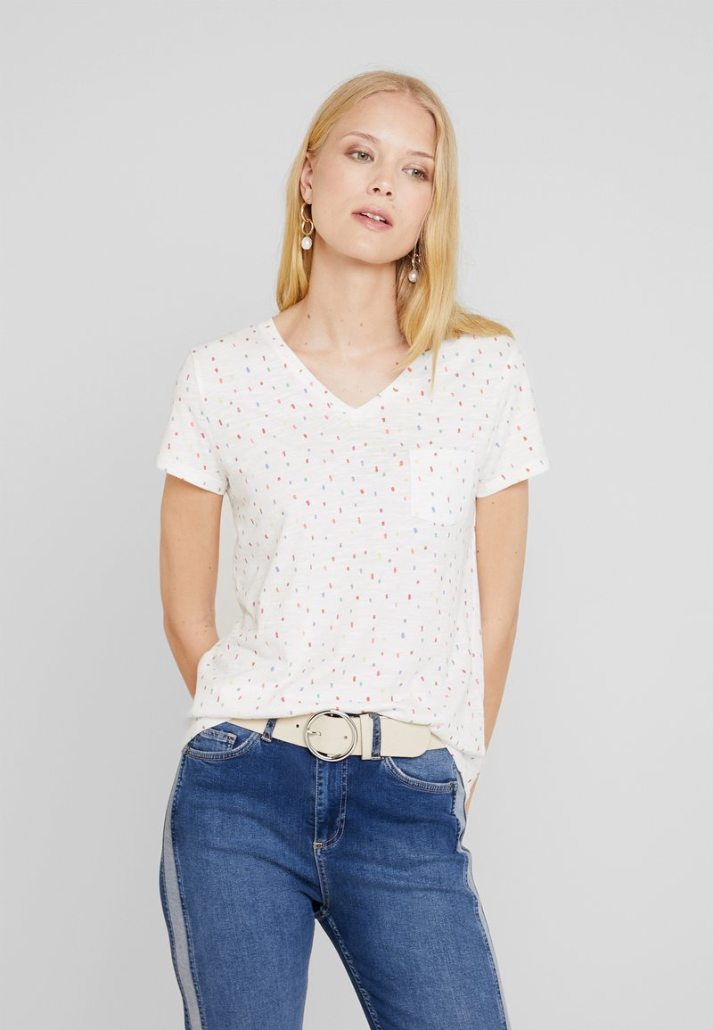 TOM TAILOR DENIM - PRINTED SLUB TEE - T-Shirt print - white/multicolor