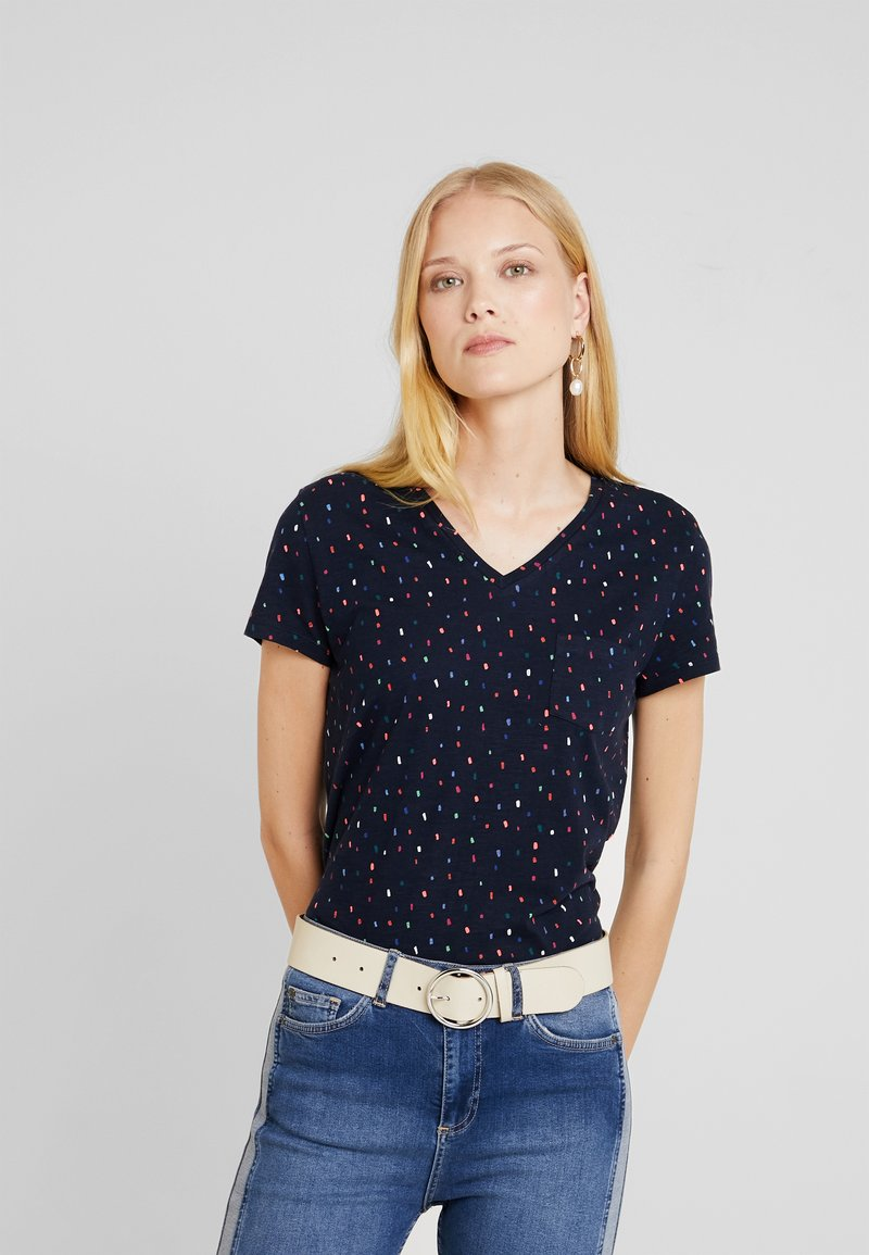 TOM TAILOR DENIM - PRINTED SLUB TEE - Camiseta estampada - navy/multicolor