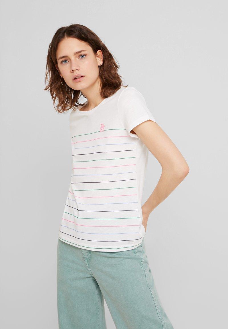 TOM TAILOR DENIM - PRINTED STRIPE SLUB TEE - T-shirt med print - off white/multicolor