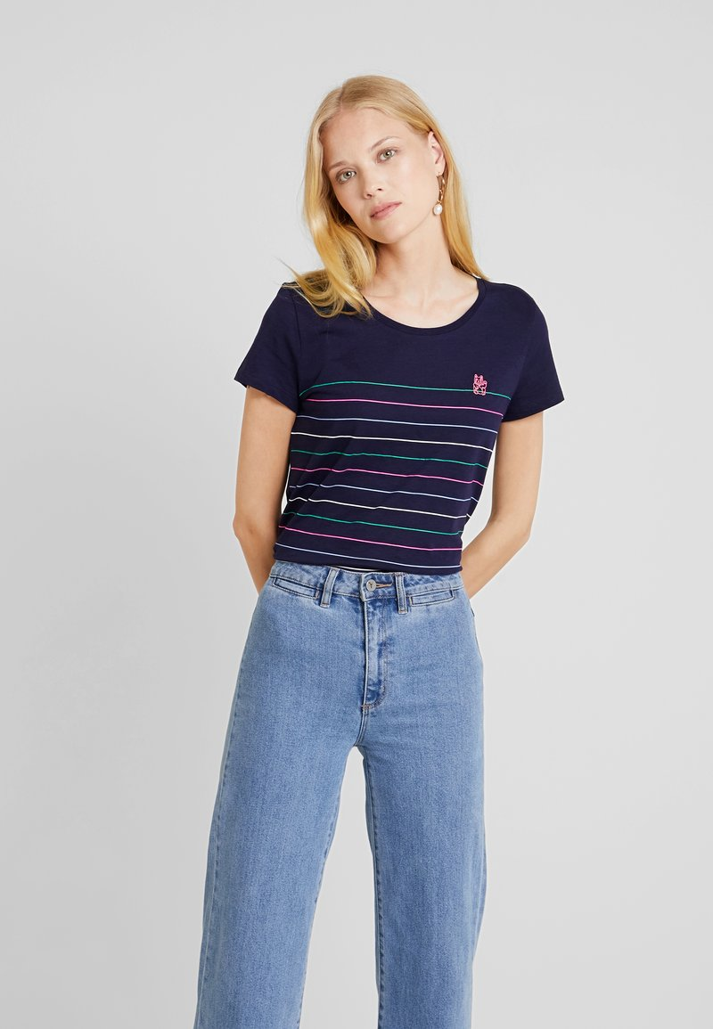 TOM TAILOR DENIM - PRINTED STRIPE SLUB TEE - T-shirt med print - navy