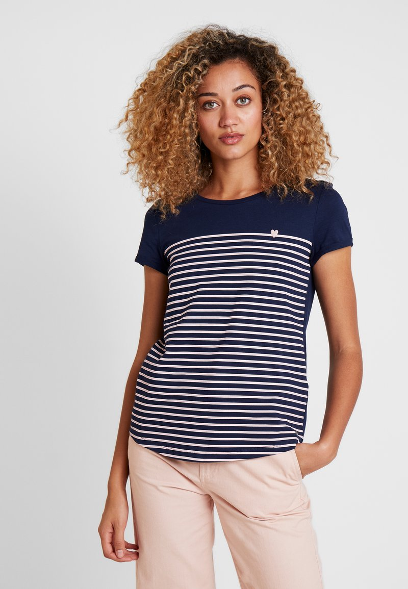TOM TAILOR DENIM - PRINTED STRIPE TEE - T-Shirt print - blue/white/rose