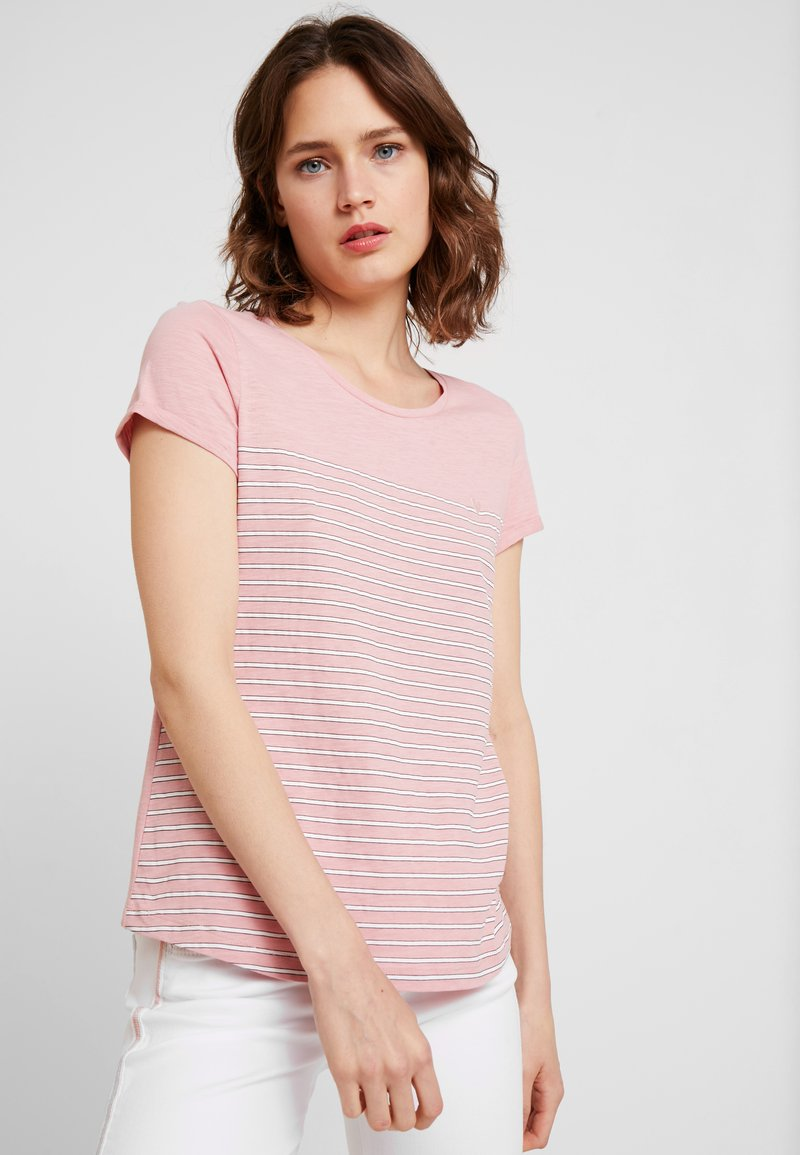 TOM TAILOR DENIM - PRINTED STRIPE TEE - T-shirt med print - rose/white
