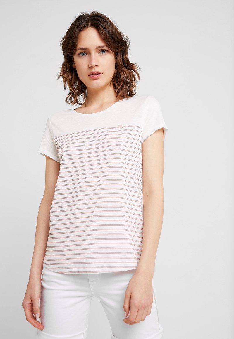 TOM TAILOR DENIM - PRINTED STRIPE TEE - T-shirt con stampa - off white/rose