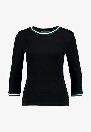 CONTRAST NECK TEE - Maglietta a manica lunga - deep black