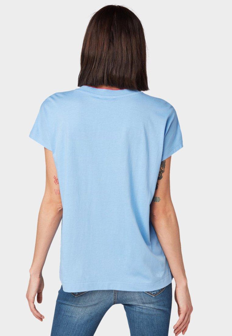 Tom Tailor Denim Mit Kontrastblende - T-shirt Printblue PpnuzwR9