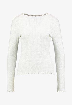 Long sleeved top - marble beige melange/white