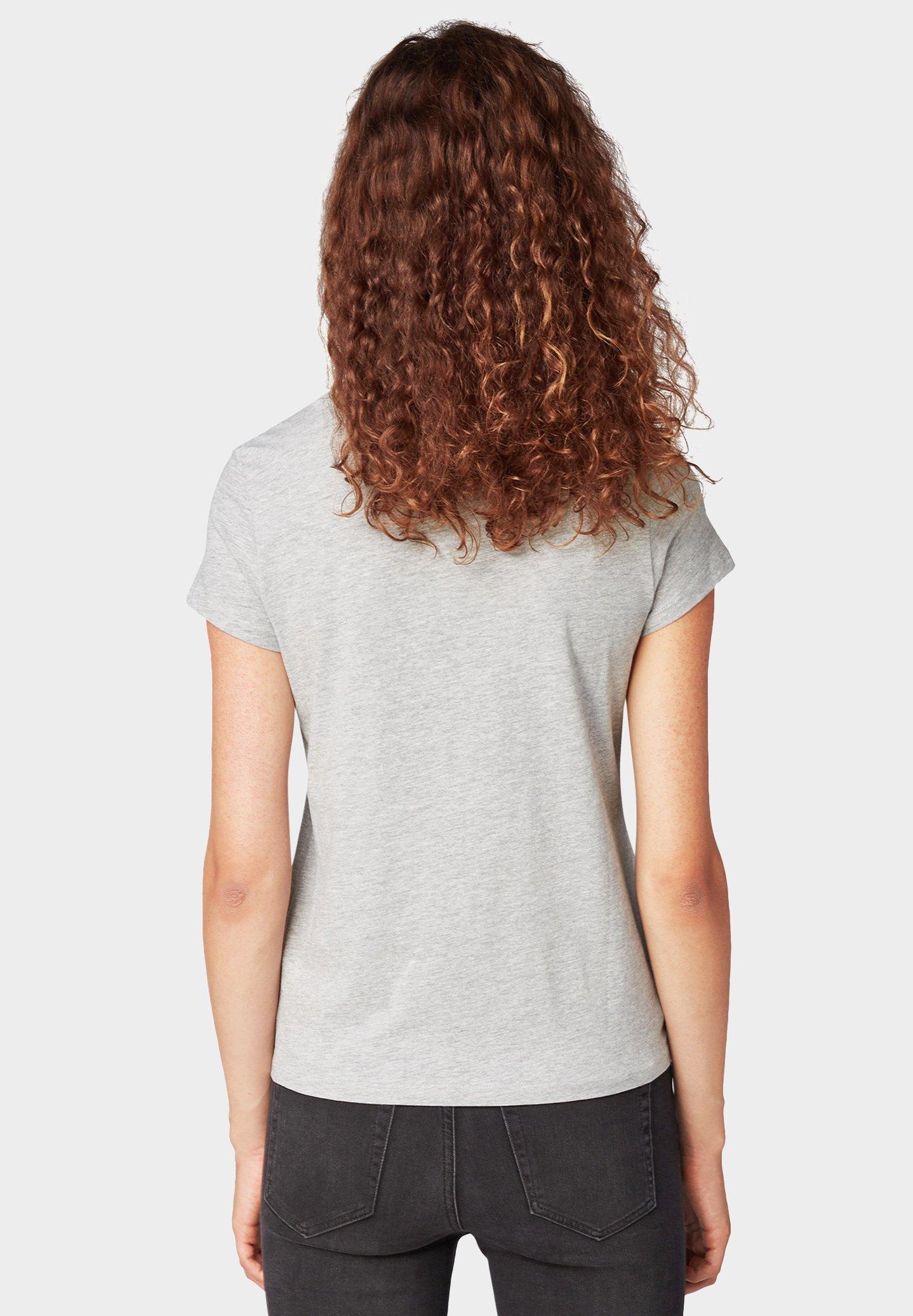 TOM TAILOR DENIM MIT SCHRIFT - T-shirt imprimé light silver grey mélange