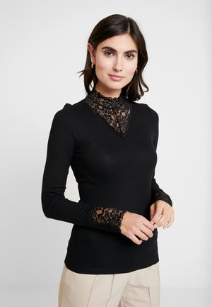 MIX MOCK NECK - Top s dlouhým rukávem - deep black