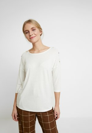 BOXYTEE WITH BUTTONS - Long sleeved top - off white/white