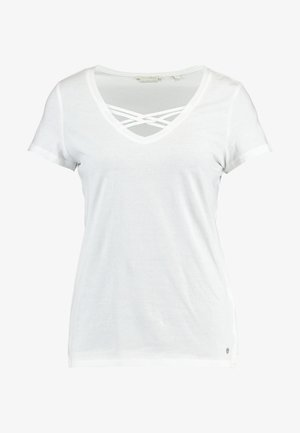 V NECK TEE WITH STRAPS - Basic T-shirt - off white
