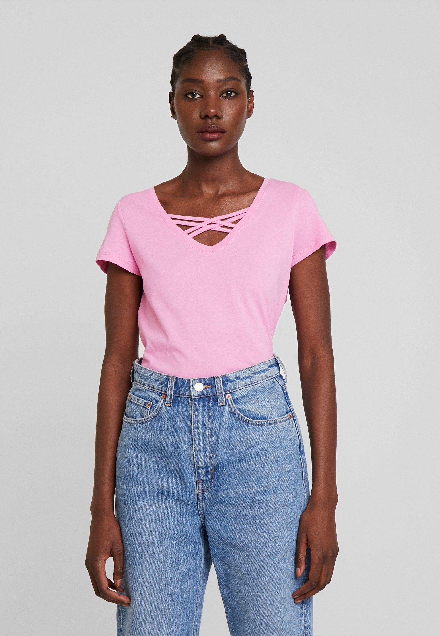 TOM TAILOR DENIM V NECK TEE WITH STRAPS - T-shirts - wild orchid pink