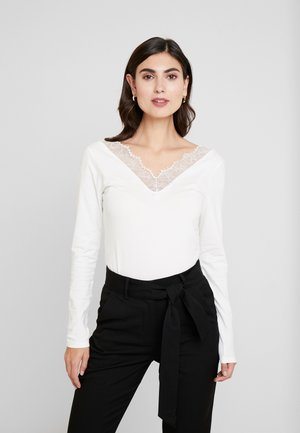 LONGSLEEVE TEE WITH TAPE - Long sleeved top - off white