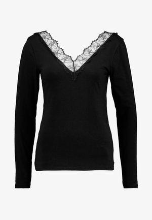 LONGSLEEVE TEE WITH TAPE - Long sleeved top - deep black
