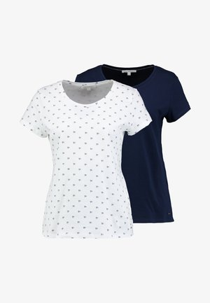 DOUBLE PACK BASIC TEE - Camiseta estampada - white/navy