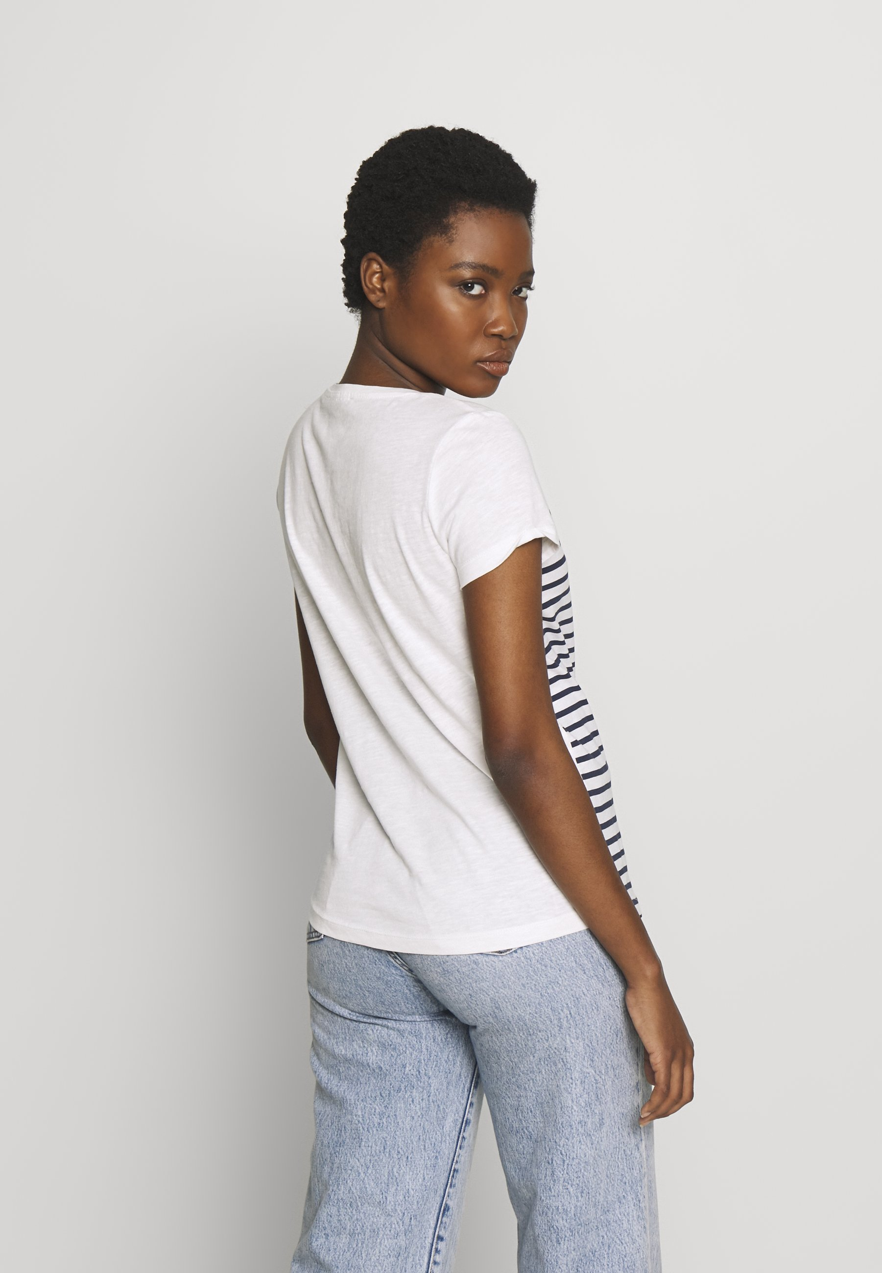 TOM TAILOR DENIM SLUB TEE - T-shirts med print - navy/white