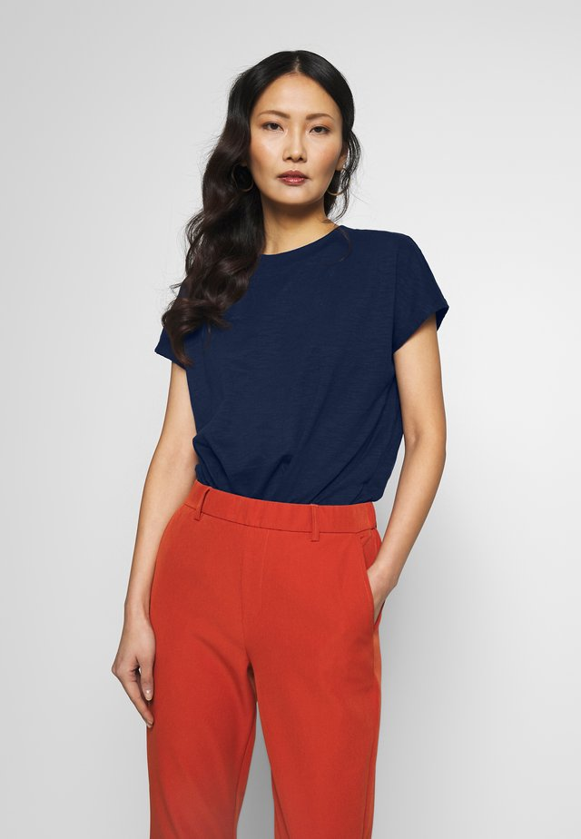 BASIC MOCK NECK TEE - T-shirt basic - real navy blue