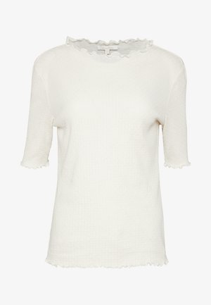 POINTELLE MOCK NECK TEE - T-shirt basique - gardenia white