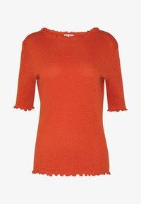 TOM TAILOR DENIM - POINTELLE MOCK NECK TEE - T-shirts - fox orange - 3