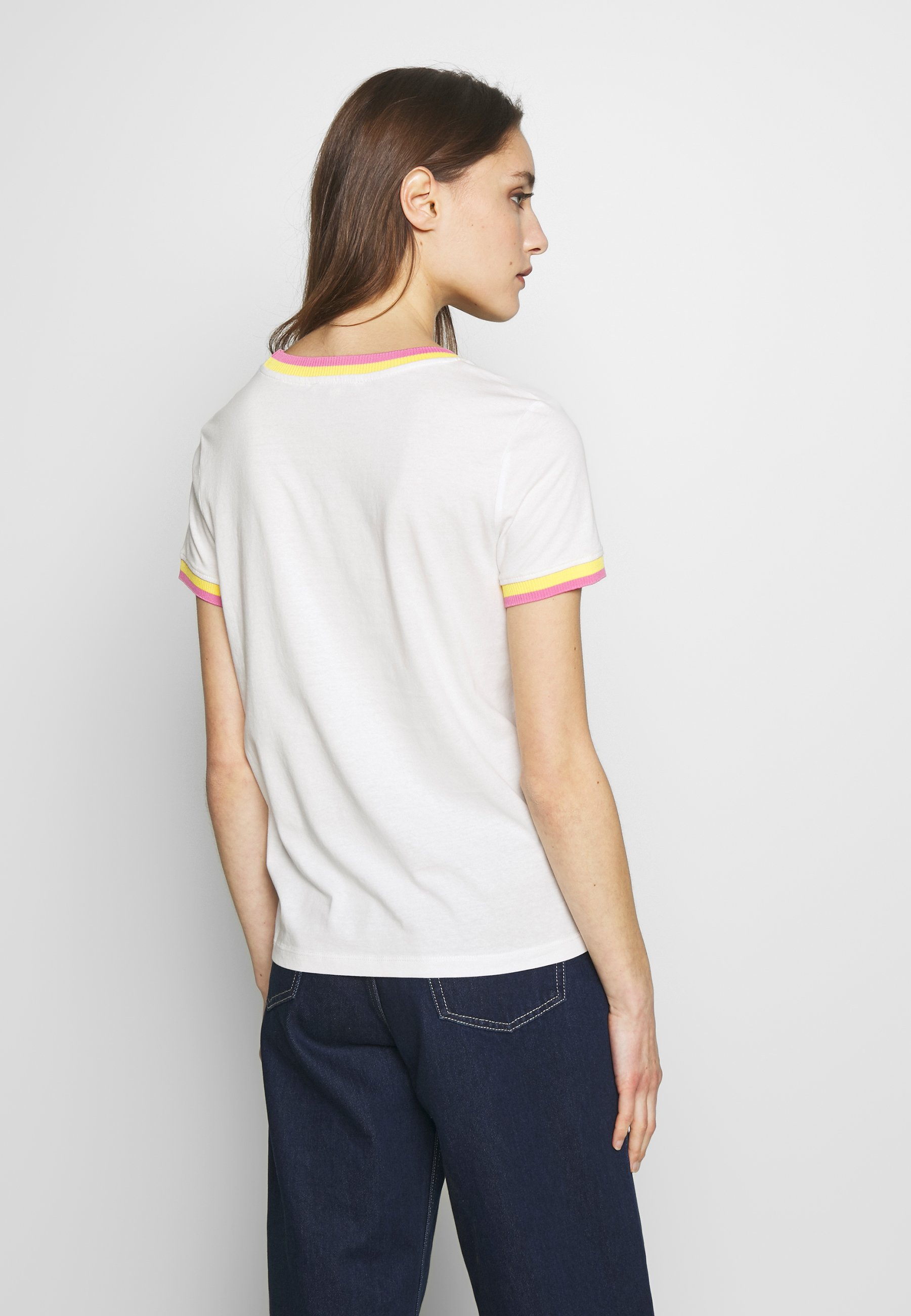 TOM TAILOR DENIM TEE WITH CONTRAST NECK - T-shirts med print - off white