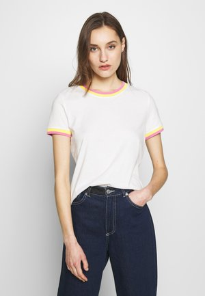TEE WITH CONTRAST NECK - T-shirt imprimé - off white