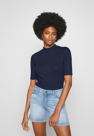 FITTED TEE WITH MOCK NECK - T-shirt imprimé - real navy blue