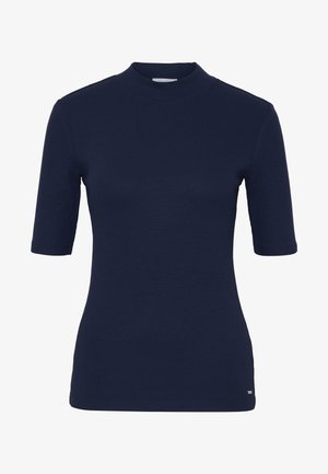 FITTED TEE WITH MOCK NECK - T-shirts med print - real navy blue
