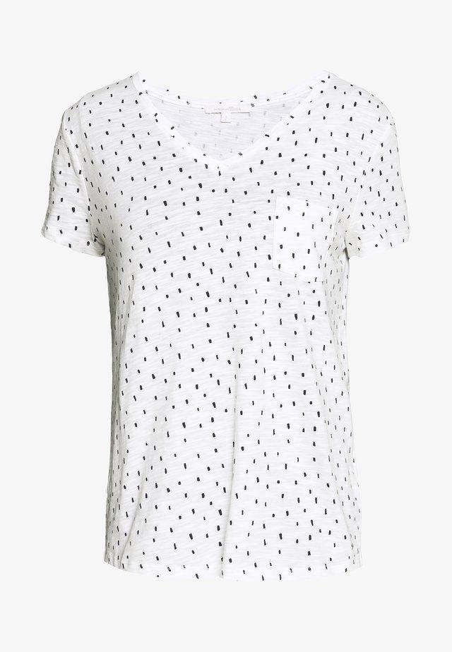 PRINTED SLUB TEE - T-shirt z nadrukiem - off white minimal