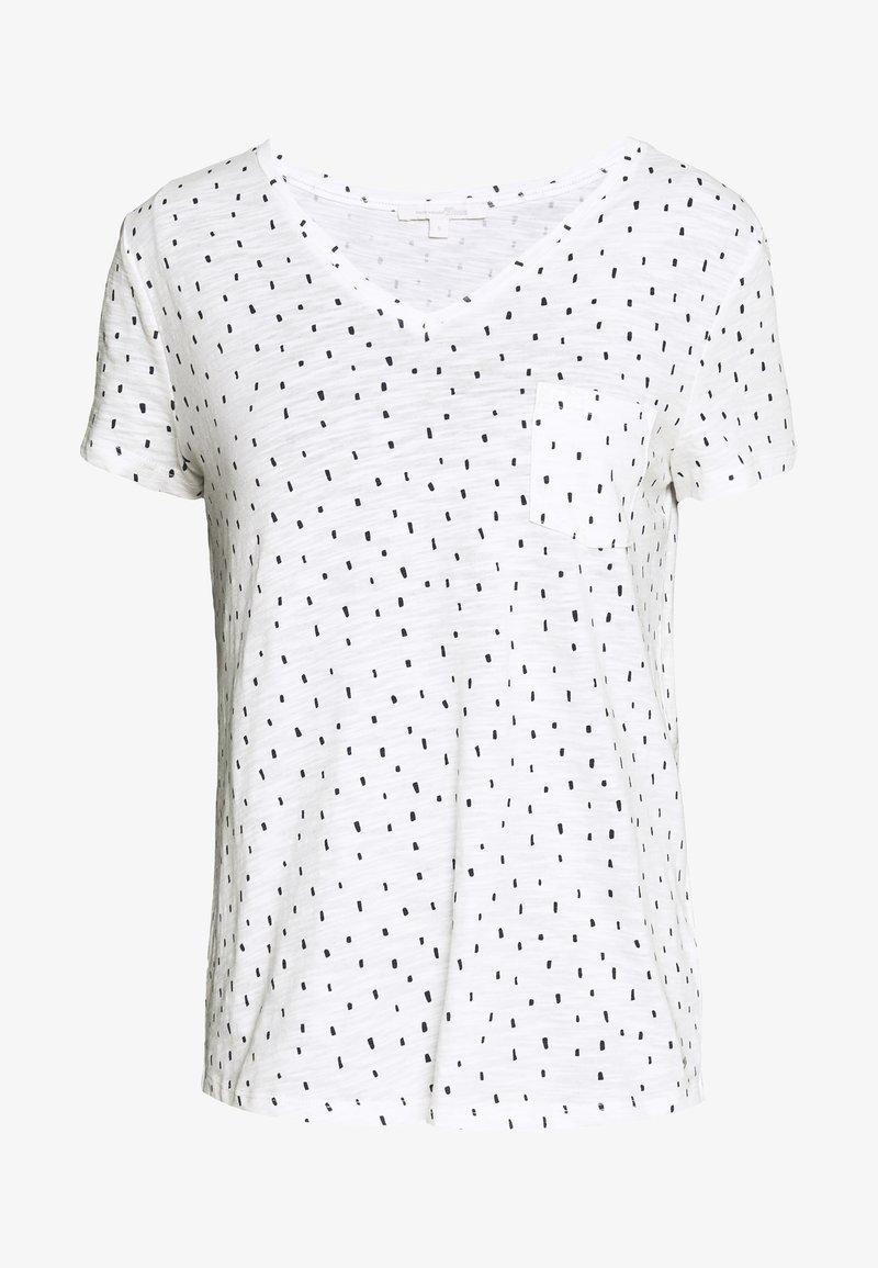 TOM TAILOR DENIM - PRINTED SLUB TEE - T-shirt z nadrukiem - off white minimal