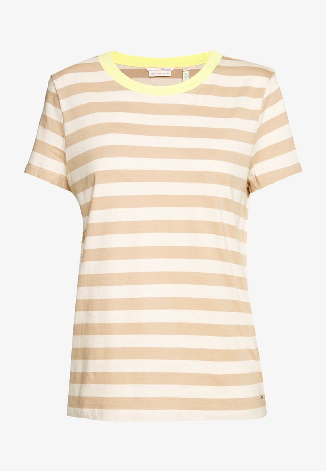 STRIPED TEE WITH CONTRAST NECK - T-shirts print - beige/white