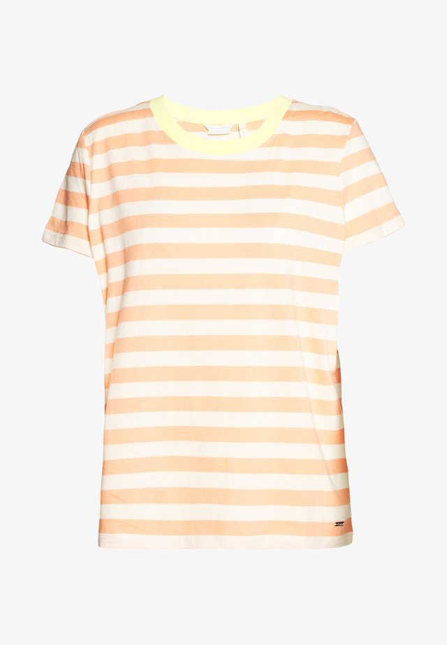 STRIPED TEE WITH CONTRAST NECK - Print T-shirt - papaya/white