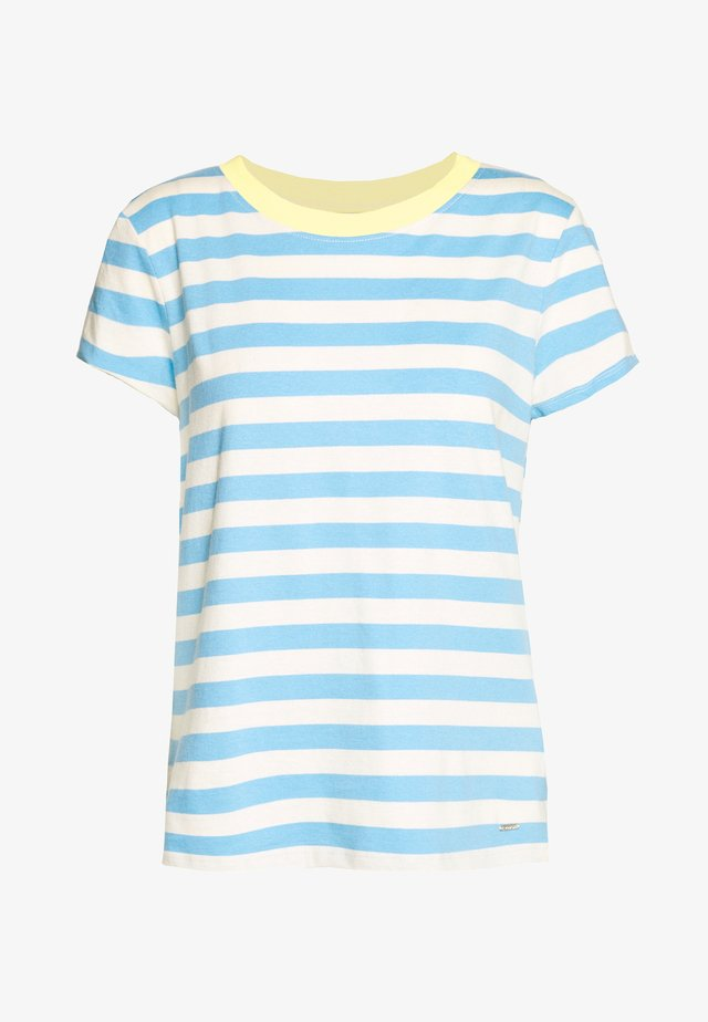 STRIPED TEE WITH CONTRAST NECK - Print T-shirt - mid blue/white