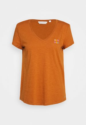 BASIC VNECK TEE WITH EMBRO - T-shirts basic - mango brown