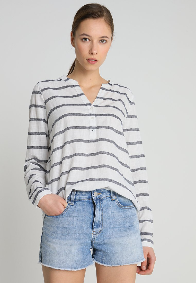 TOM TAILOR DENIM - WIDE STRIPE HENLEY BLOUSE - Bluse - white/navy