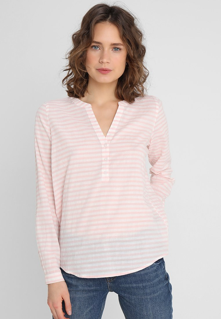 TOM TAILOR DENIM - STRIPED HENLEY BLOUSE - Bluse - rose