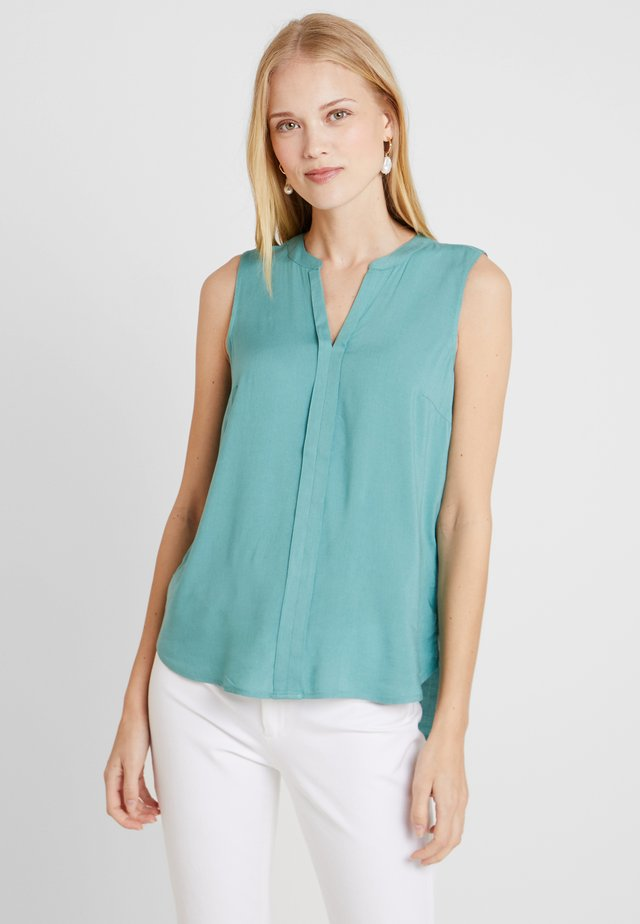 SLEEVELESS OPEN NECK  - Bluse - mineral stone blue