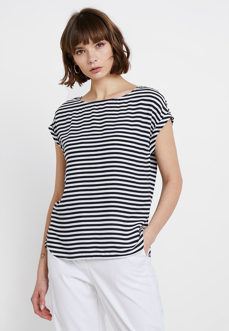 TOM TAILOR DENIM - SPORTY BLOUSE - Blouse - dark blue/white