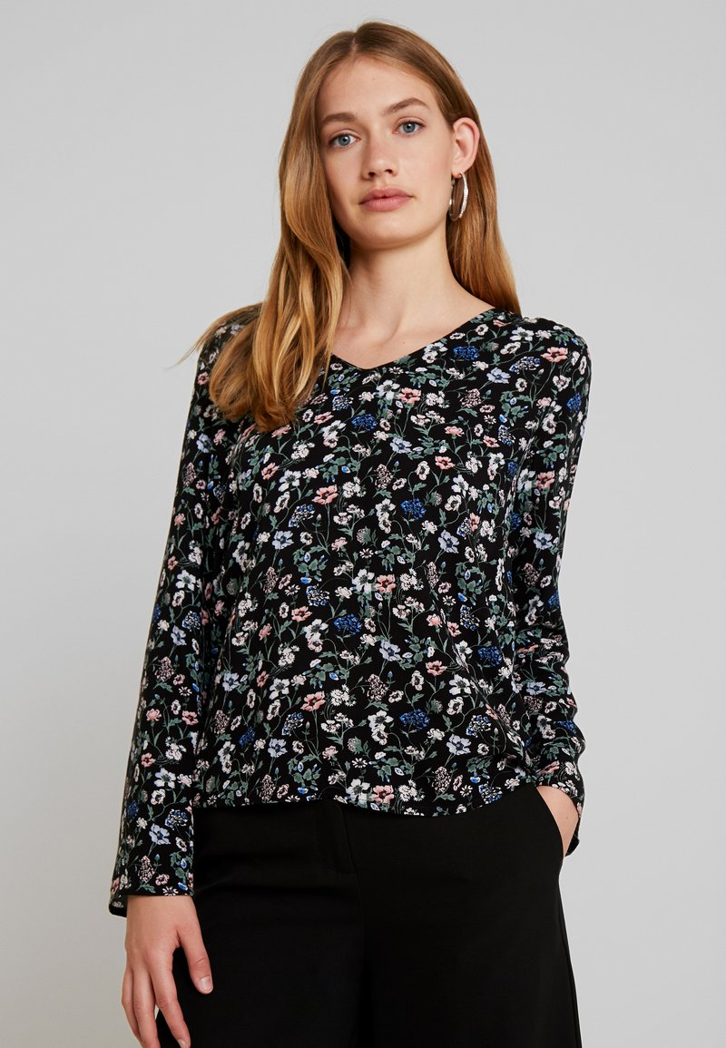 TOM TAILOR DENIM - V-NECK TUNIC WITH TURN-UP - Bluse - black flower print