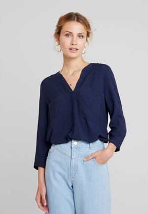 SOLID HENLEY - Blus - real navy blue