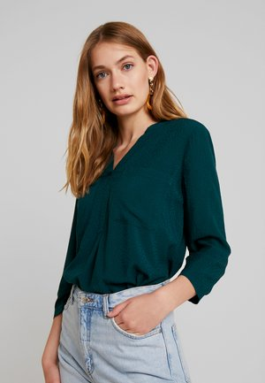 SOLID HENLEY - Blouse - deep green lake