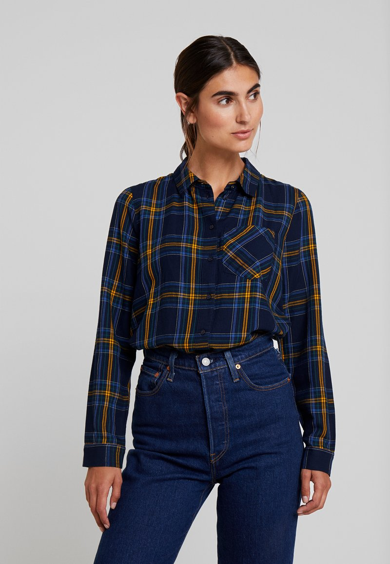 TOM TAILOR DENIM - FITTED CHECK - Hemdbluse - blue/yellow