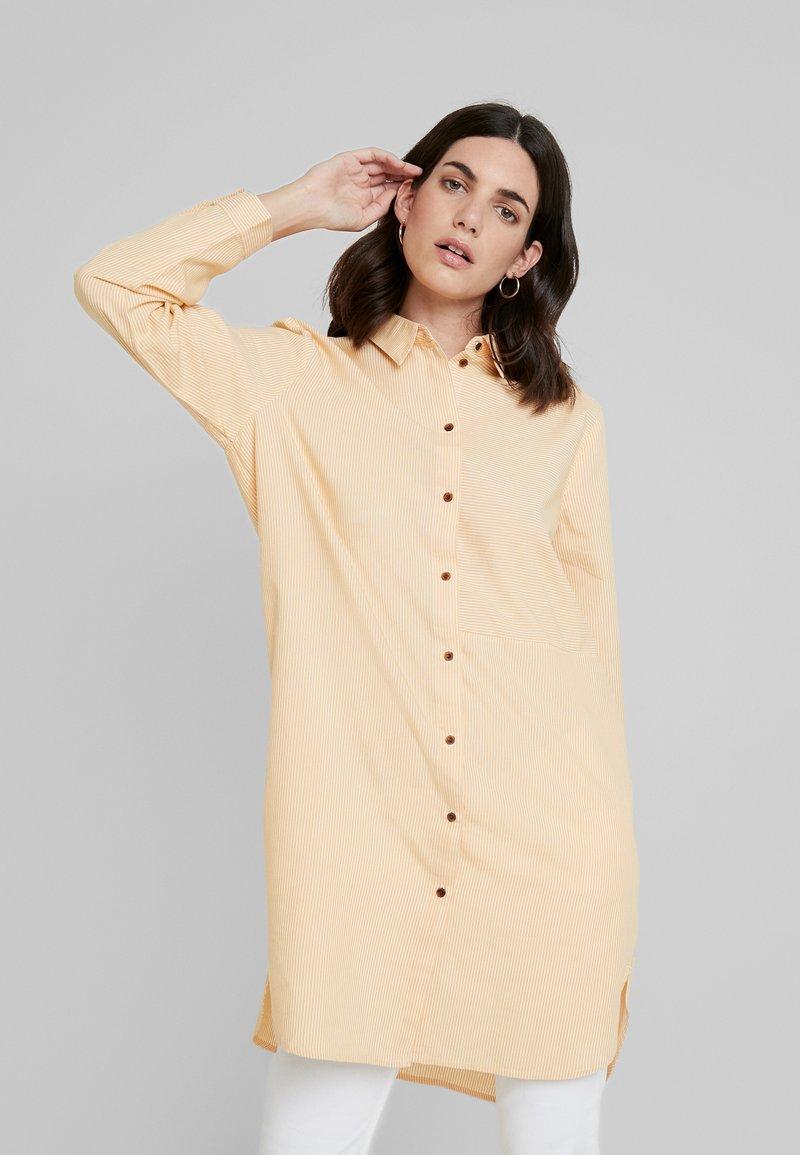 TOM TAILOR DENIM - LONG BLOUSE - Button-down blouse - yellow/white