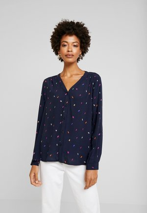 V NECK BLOUSE WITH BUTTONS - Blouse - dark blue