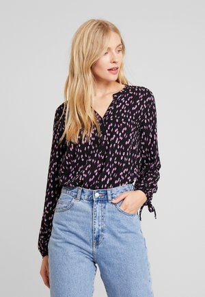 HENLEY BLOUSE WITH BOW DETAIL AT CUFF - Pusero - black