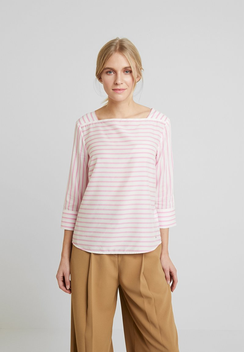TOM TAILOR DENIM - STRIPED CARREEBLOUSE - Bluzka - rose/white
