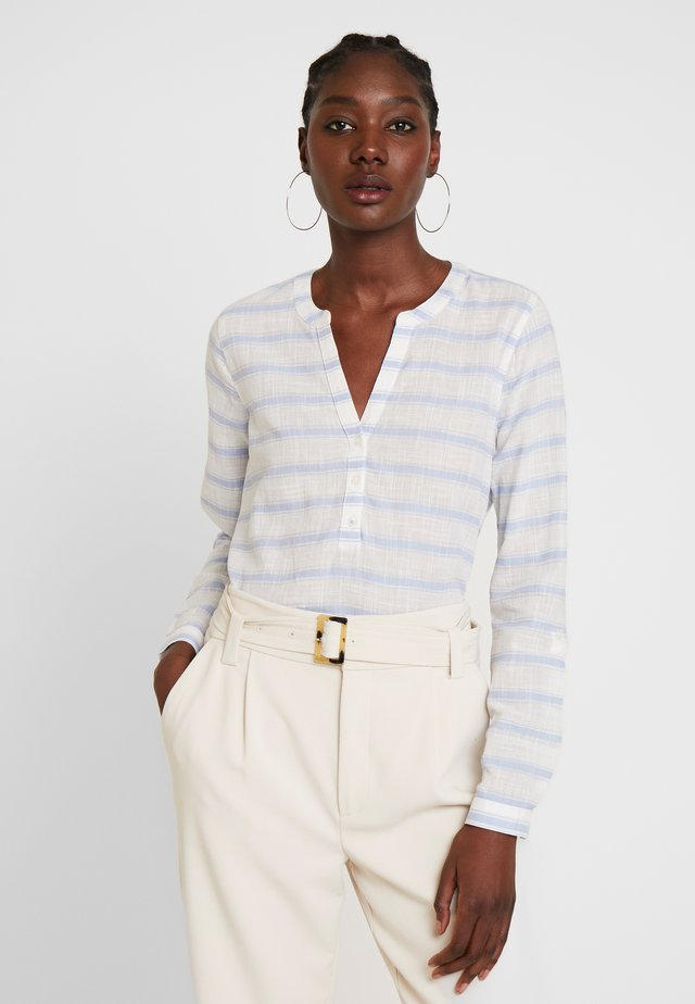 STRIPED HENLEY BLOUSE - Bluzka - white/light blue