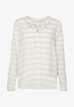 STRIPED HENLEY BLOUSE - Bluser - white/green